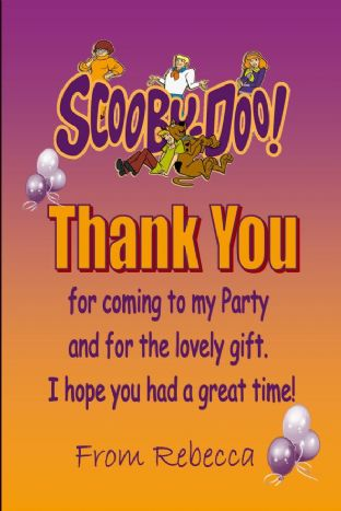Personalised Scooby Doo Thank You Cards
